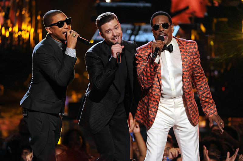 From left, Pharrell Williams, Justin Timberlake and Charlie Wilson perform onstage at the BET Awards at the Nokia Theatre on Sunday, June 30, 2013, in Los Angeles. (Photo by Frank Micelotta/Invision/AP)