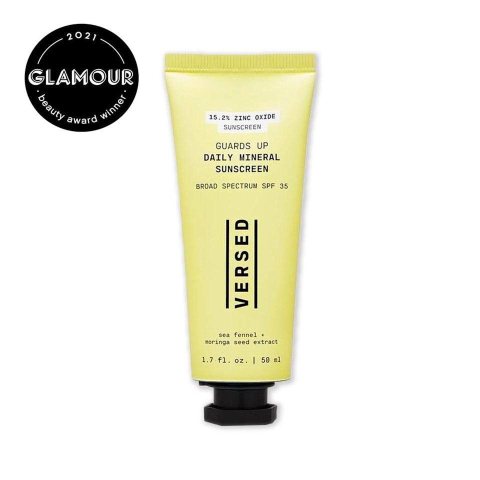 """There's a reason this SPF 25 took home a <em>Glamour</em> Beauty Award in the <a href=""""https://www.glamour.com/gallery/beauty-awards-readers-choice-product-winners?mbid=synd_yahoo_rss"""" rel=""""nofollow noopener"""" target=""""_blank"""" data-ylk=""""slk:reader's choice category"""" class=""""link rapid-noclick-resp"""">reader's choice category</a>: It's lightweight but moisturizing, dewy without being greasy, and slightly tinted to blur pores and blend into skin. Aside from UVB and UVA protection, it protects your skin from blue light and moisturizes with moringa seed extract. The bright yellow packaging is not only super cheerful but also made of 79% postconsumer plastic. $22, Versed. <a href=""""https://versedskin.com/products/guards-up-daily-mineral-sunscreen-broad-spectrum-spf-35"""" rel=""""nofollow noopener"""" target=""""_blank"""" data-ylk=""""slk:Get it now!"""" class=""""link rapid-noclick-resp"""">Get it now!</a>"""