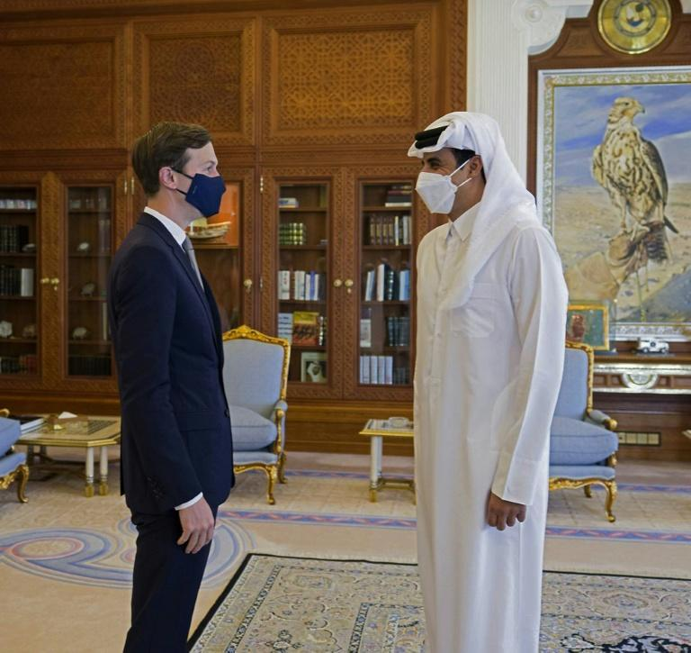 Jared Kushner (L), senor advisor to the US president, meets with Qatar's ruler Emir Sheikh Tamim bin Hamad Al-Thani in Doha
