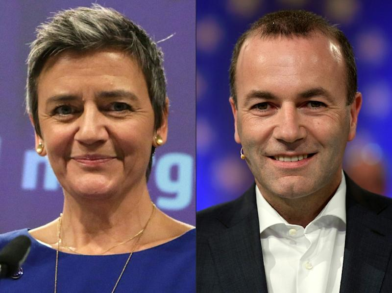 EU Commissioner for Competition Margrethe Vestager and German MEP Manfred Weber are vying to become the next EU Commision president (AFP Photo/Aris Oikonomou, INA FASSBENDER)