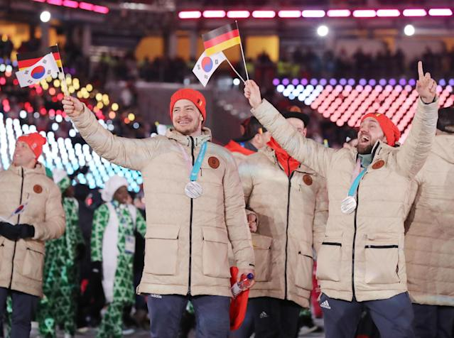 <p>Pyeongchang 2018 Winter Olympics – Closing ceremony – Pyeongchang Olympic Stadium – Pyeongchang, South Korea – February 25, 2018 – Athletes from Germany attend the closing ceremony. REUTERS/Lucy Nicholson </p>