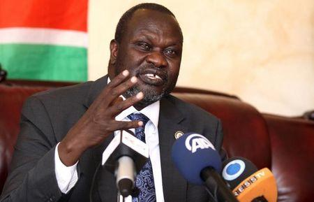 Machar addresses a news conference in Ethiopia's capital Addis Ababa
