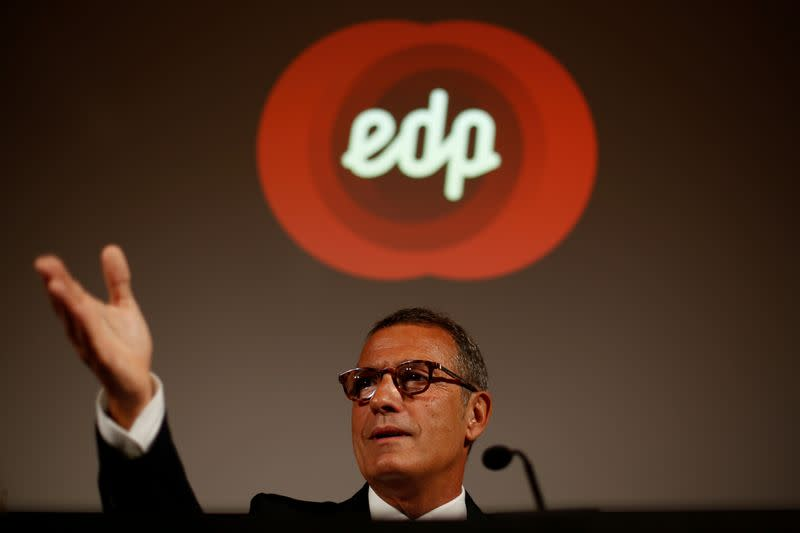 FILE PHOTO: Portuguese electric power company Energias de Portugal (EDP) CEO Antonio Mexia speaks during a news conference in Lisbon