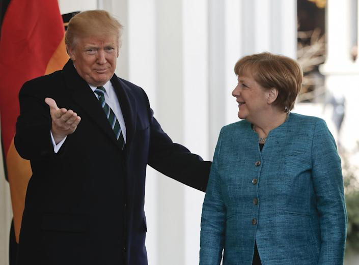 President Donald Trump greets German Chancellor Angela Merkel outside the West Wing of the White House in Washington, Friday, March 17, 2017. (Photo: Pablo Martinez Monsivais/AP)