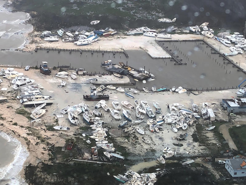 U.S. Coast Guard Station Clearwater, boats litter the area around marina in the Bahamas after they were tossed around by Hurricane Dorian on Sept. 2, 2019. (U.S. Coast Guard Station Clearwater via AP)