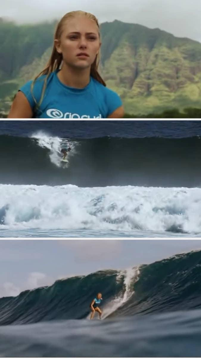 AnnaSophia Robb in a close-up, and then Bethany Hamilton surfing in faraway shots