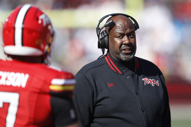 COLLEGE PARK, MD - NOVEMBER 02: Head coach Mike Locksley of the Maryland Terrapins looks on during a game against the Michigan Wolverines at Capital One Field at Maryland Stadium on November 2, 2019 in College Park, Maryland. Michigan defeated Maryland 38-7. (Photo by Joe Robbins/Getty Images)