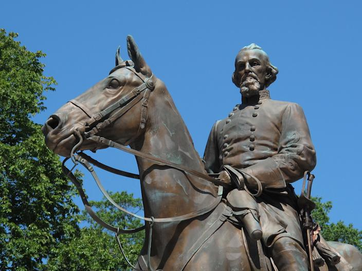 A statue of Confederate Gen. Nathan Bedford Forrest sits in a park in Memphis, Tenn., Aug. 18, 2017. The city of Memphis is asking a court to overrule a commission's decision that prevents the removal of the Confederate statue from Health Sciences Park. The city filed a petition in Davidson County Chancery Court on Monday, Dec. 13. (Photo: Adrian Sainz/AP)