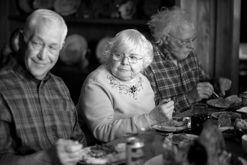 "This image released by Paramount Pictures shows, from left, Dennis McCoig as Uncle Verne, June Squibb as Kate Grant and Bruce Dern as Woody Grant in a scene from the film ""Nebraska."" ""Blue Jasmine,"" ""Nebraska"" and ""American Hustle"" have been nominated for Writers Guild honors, continuing their imprint on Hollywood's awards season. The three comedies gained nods on Friday, Jan. 3, 2014, for exceptional screen writing. (AP Photo/Paramount Pictures, Merie W. Wallace)"