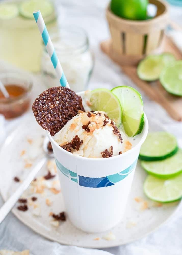 """<p>This float uses seltzer instead of soda, making it a lighter alternative to overly sweet floats. And the combination of coconut and lime tastes like a tropical vacation even if you're making this in your own kitchen. </p> <p><strong>Get the recipe:</strong> <a href=""""http://www.runningtothekitchen.com/coconut-lime-ice-cream-float/"""" class=""""link rapid-noclick-resp"""" rel=""""nofollow noopener"""" target=""""_blank"""" data-ylk=""""slk:coconut lime ice cream float with toasted coconut cashew crisps"""">coconut lime ice cream float with toasted coconut cashew crisps</a></p>"""