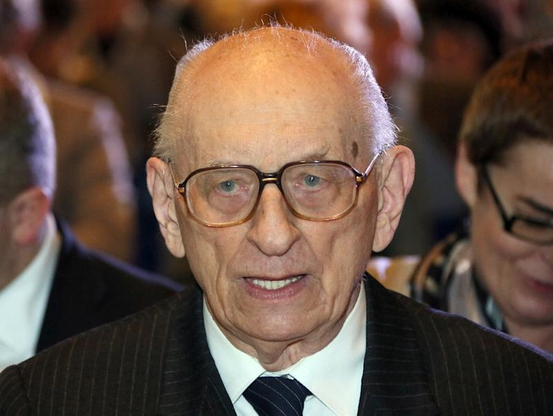 Auschwitz survivor and two-time Polish foreign minister Wladyslaw Bartoszewski, pictured in Berlin on November 19, 2014, died at the age of 93