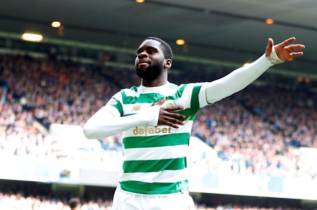 Soccer Football - Scottish Premiership - Rangers vs Celtic - Ibrox, Glasgow, Britain - March 11, 2018 Celtic's Odsonne Edouard celebrates scoring their third goal REUTERS/Russell Cheyne