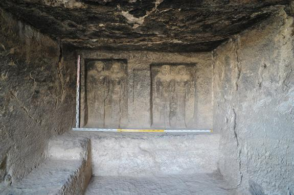 The ancient tomb, possibly for a priest, contains a central room (shown here), with four statues.