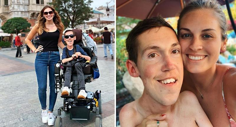 Boyfriend Shane Burcaw with spinal muscular atrophy and his able-bodied girlfriend Hannah Aylward.