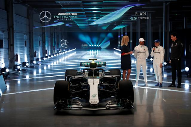 F1 Formula One - Mercedes 2018 Car Launch - Silverstone Circuit, Towcester, Britain - February 22, 2018 Mercedes' Lewis Hamilton, Valtteri Bottas and Executive Director Toto Wolff during the launch Action Images via Reuters/Matthew Childs