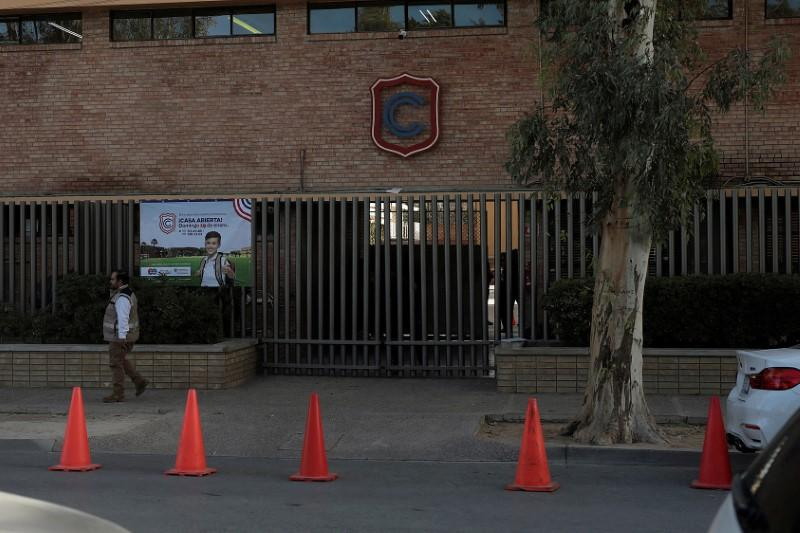 A general view shows the facade of a private school after a shooting in Torreon