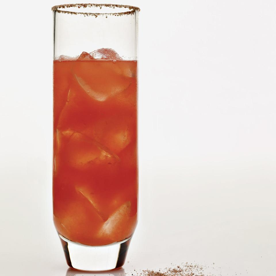 """<p>This cocktail's name is a play on both the Spanish word for watermelon, <em>sandía,</em> and """"incendiary,"""" referring to the peppery tequila and the spicy ancho chile rim.</p><p><a href=""""https://www.foodandwine.com/recipes/in-sandiary-cocktails-2009"""">GO TO RECIPE</a></p>"""