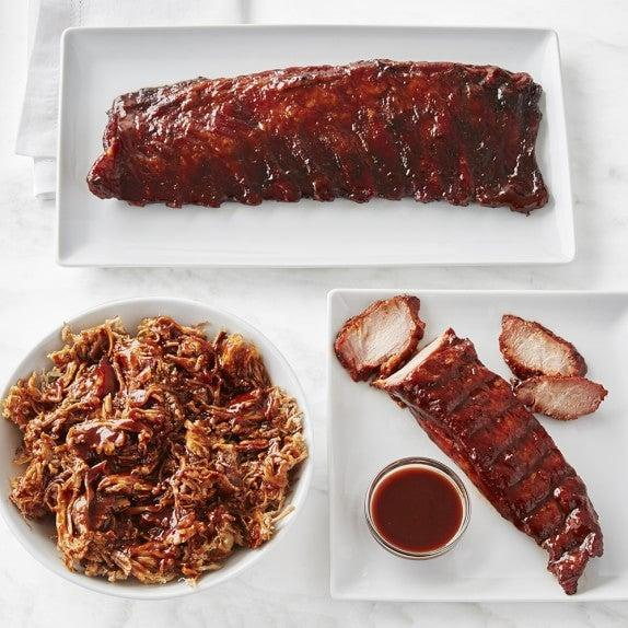 """<strong><h2>Williams-Sonoma</h2></strong> <br><strong>How It Works: </strong>The kitchen store sells way more to eat than just their beloved peppermint bark. Choose from raw, pre-marinated, and cooked meats and seafood. <br><br><strong>What You Get: </strong>Everything from smoked chicken wings to leg of lamb to <a href=""""https://www.williams-sonoma.com/products/regalis-imperial-black-kaluga-caviar/?pkey=cseafood-food&isx=0.0.1061"""" rel=""""nofollow noopener"""" target=""""_blank"""" data-ylk=""""slk:caviar"""" class=""""link rapid-noclick-resp"""">caviar</a>. <br><br><strong>Good To Know: </strong>Meat plates, prepared roasts, and even <a href=""""https://www.williams-sonoma.com/shop/food/food-entrees/?cm_re=supercathero-_-default-_-spr3_food_entrees"""" rel=""""nofollow noopener"""" target=""""_blank"""" data-ylk=""""slk:prepared meals"""" class=""""link rapid-noclick-resp"""">prepared meals</a> can help make a date night or even just a Tuesday night feel special. <br><br><strong>Price: </strong>Starting at $39.95.<br><br><strong>Perfect For: </strong>A fancy dinner out that's actually still in.<br><br><em>Shop <strong><a href=""""https://www.williams-sonoma.com/shop/food/"""" rel=""""nofollow noopener"""" target=""""_blank"""" data-ylk=""""slk:Williams-Sonoma"""" class=""""link rapid-noclick-resp"""">Williams-Sonoma</a></strong></em><br><br><br><br><br><br><br><br><br><br><br>"""