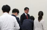 Japan's Vaccine Minister Taro Kono attends a group interview in Tokyo