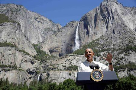 U.S. President Barack Obama speaks about the National Park Service at Yosemite National Park, California, U.S., June 18, 2016. REUTERS/Joshua Roberts/File Photo