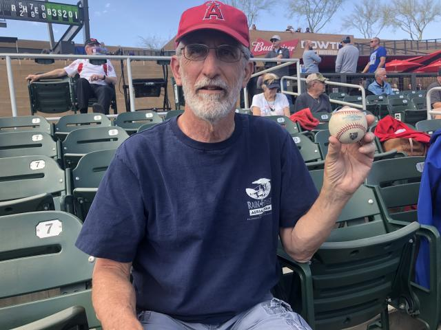 Angels fan Jimmy Proctor caught the first foul ball that Shohei Ohtani hit in the U.S. (Yahoo Sports)