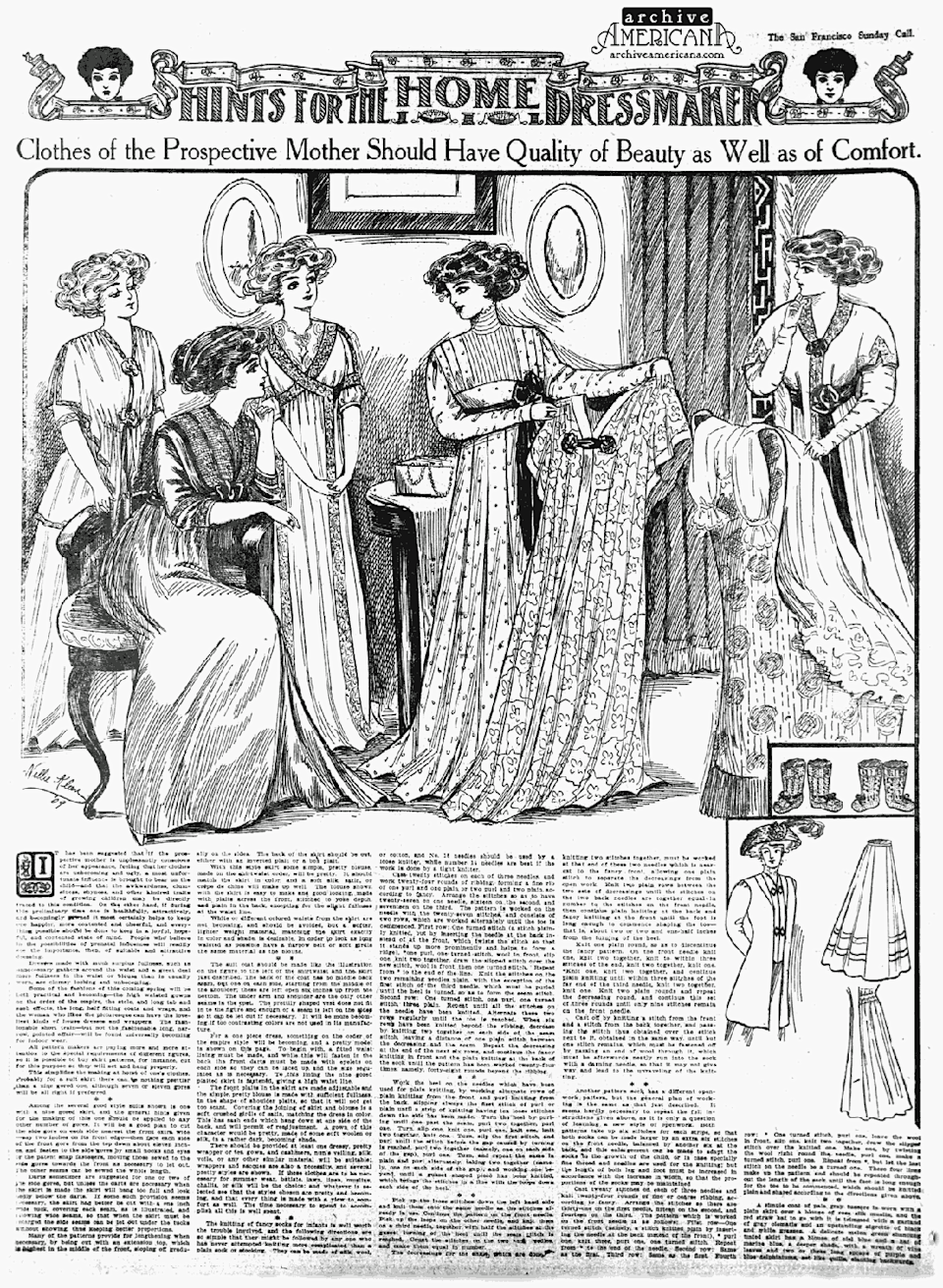 "<p>""Clothes of Prospective Mothers Should Have Quality of Beauty as Well as of Comfort."" A novel concept, indeed.</p>"