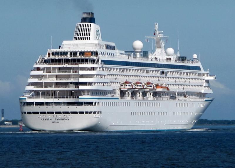 The cruise liner Crystal Symphony leaves the harbor in Charleston, S.C., on May 21, 2013. With cases in state, federal and South Carolina Administrative Law Court, it will be 2014 at the earliest before legal questions about a new Charleston cruise terminal and the city's year-round cruise industry will be resolved. (AP Photo/Bruce Smith)