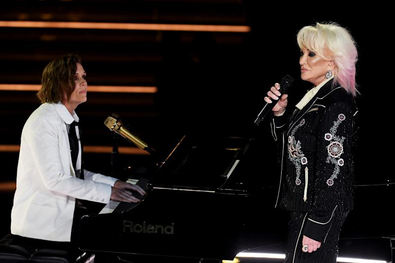 Brandi Carlile and Tanya Tucker perform onstage during the 62nd Annual GRAMMY Awards at STAPLES Center on January 26, 2020 in Los Angeles, California. | Getty Images for The Recording A—2020 The Recording Academy