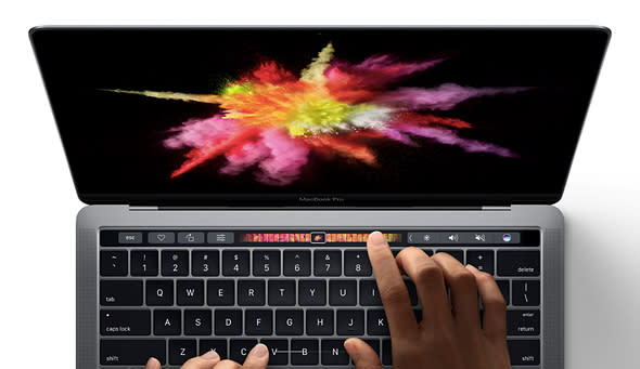 The MacBook Pro's touch bar in action.