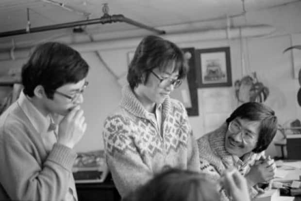 Barry Wong, Clarence Sihoe, and Jim Wong-Chu working on Pender Guy in May 1978.
