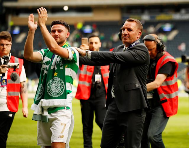 Soccer Football - Scottish Cup Final - Celtic vs Motherwell - Hampden Park, Glasgow, Britain - May 19, 2018 Celtic manager Brendan Rodgers and Patrick Roberts applaud their fans after winning the Scottish Cup Action Images via Reuters/Jason Cairnduff