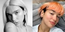 <p>Dua Lipa has officially joined Team Quarantine Makeover. Apparently, the singer got bored with her super edgy half-blonde-half-black hairdo and decided to update it with a box of neon tangerine dye. She unveiled the brand new look (that I'm obsessed with, tbh) in an obscenely cute video with boyfriend Anwar Hadid.</p>