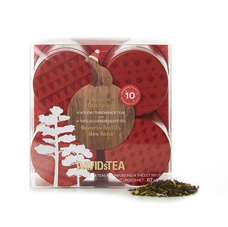 """Winter time calls for more tea. This set of holiday-themed teas also makes a perfect host gift. <a href=""""https://www.davidstea.com/ca_en/gifts-and-sets/festive-fan-faves/960546DT01.html?cgid=gifts-sets#sz=12&amp;start=53"""">Get it here.</a>"""