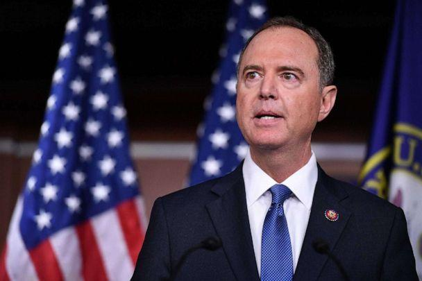 PHOTO: House Intelligence Committee Chair Adam Schiff, speak during a press conference with House Speaker Nancy Pelosi at the US Capitol in Washington, DC on October 2, 2019. (Mandel Ngan/AFP/Getty Images, FILE)