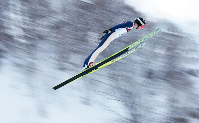 SAPPORO, JAPAN - JANUARY 20: Dusty Korek of Canada in action during day two of the FIS Men's Ski Jumping World Cup at Okurayama Jump Stadium on January 20, 2013 in Sapporo, Japan. (Photo by Adam Pretty/Getty Images)