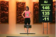 """<p>Ali became the first-ever female winner of <em>The Biggest Loser</em> in 2008, losing 112 pounds. She went on to write a book about her experience called <em><a href=""""https://www.amazon.com/dp/B0039NLX74?tag=syn-yahoo-20&ascsubtag=%5Bartid%7C2139.g.28410376%5Bsrc%7Cyahoo-us"""" rel=""""nofollow noopener"""" target=""""_blank"""" data-ylk=""""slk:Believe It, Be It: How The Biggest Loser Won Me Back My Life"""" class=""""link rapid-noclick-resp"""">Believe It, Be It: How The Biggest Loser Won Me Back My Life</a>.</em></p>"""