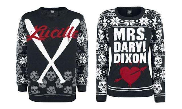 "<p>Bloodied baseball bats or the fantasy of being Mrs. Daryl Dixon? Think we just described the difference between Krampus and Santa. <strong>Buy <a href=""https://www.emp.co.uk/p/lucille/357391.html#q=christmas%2Bsweater&lang=en_GB&start=35tk"" rel=""nofollow noopener"" target=""_blank"" data-ylk=""slk:here"" class=""link rapid-noclick-resp"">here</a> and <a href=""https://www.emp.co.uk/p/mrs.-daryl-dixon/357394.html"" rel=""nofollow noopener"" target=""_blank"" data-ylk=""slk:here"" class=""link rapid-noclick-resp"">here</a></strong> </p>"