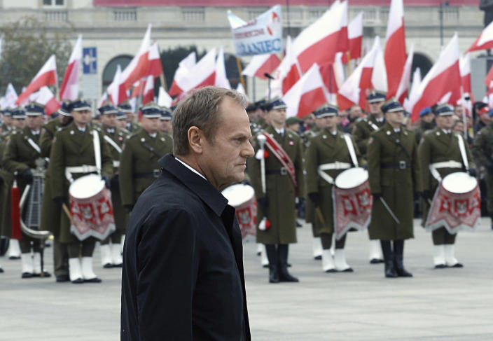 European Council President Donald Tusk arrives for the official ceremony marking Poland's Independence Day, in Warsaw, Poland, Sunday, Nov. 11, 2018. Tusk joined celebrations in his native Poland on Independence Day, which celebrates the nation regaining its sovereignty at the end of World War I after being wiped off the map for more than a century. (AP Photo/Alik Keplicz)