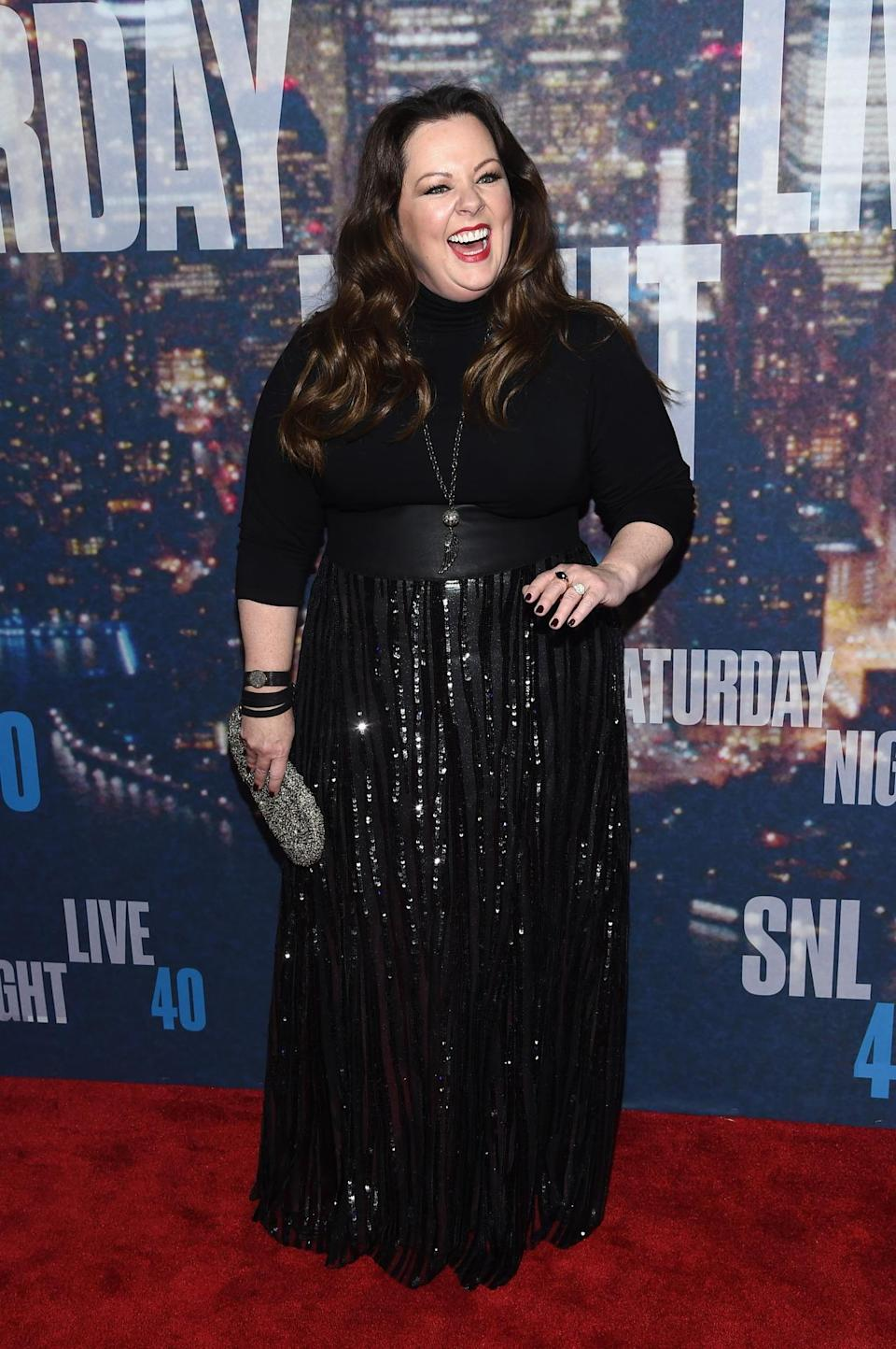 Melissa McCarthy got the memo from New York Fashion Week that this season is all about turtlenecks.