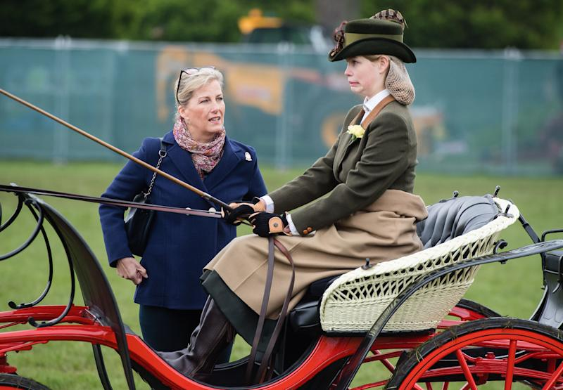 WINDSOR, ENGLAND - MAY 09: Sophie, Countess of Wessex and Lady Louise Windsor attend the Royal Windsor Horse Show 2019 on May 09, 2019 in Windsor, England. (Photo by Samir Hussein/Samir Hussein/WireImage)