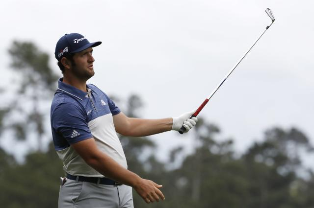 Jon Rahm of Spain watches his tee shot off the 4th during third round play of the 2018 Masters golf tournament at the Augusta National Golf Club in Augusta, Georgia, U.S. April 7, 2018. REUTERS/Jonathan Ernst