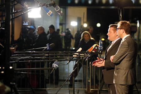 Secretary general of the CSU Dobrindt and CDU party secretary general Groehe give a statement to the media in Berlin