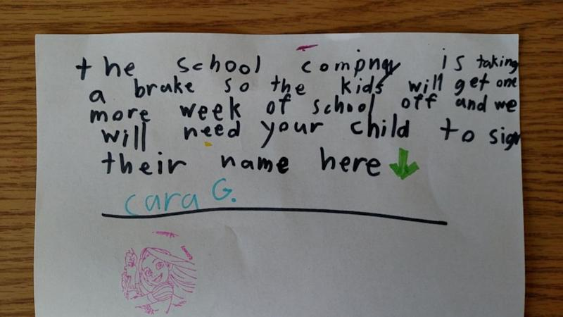 Little Girl's Mock Letter From School Creates Internet Buzz