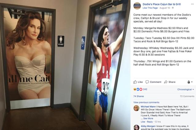 This Facebook post, showing off the new Caitlyn Jenner bathroom doors, caused fired-up discussion. (Photo: Facebook/Dodie's Place Cajun Bar & Grill)