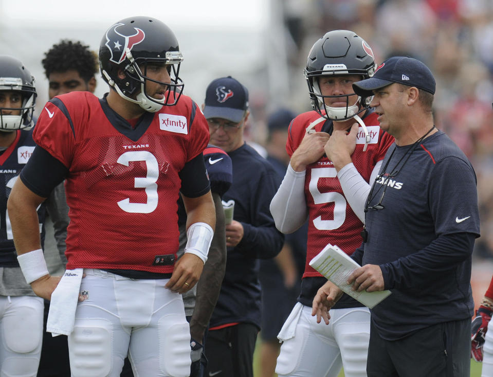 Texans head coach Bill O'Brien doesn't have many talented options at quarterback behind Tom Savage (3). (AP)