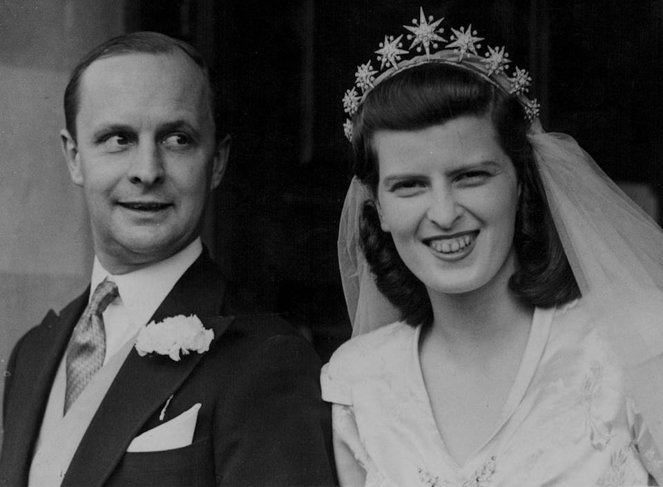 <p>William Waldorf Astor married socialite Sarah Norton in 1945. Despite getting divorced in 1953, the pair had a whirlwind romance and apparently got engaged just a few days after they met. Not much is publicly known about Sarah's dress, but we can all agree that her starburst tiara is fit for royalty (or, alternatively, a basic who's super into weddings *waves hi*).</p><p>(Side note: This wedding took place in London, but the Astors are a cross-continental fixture, as anyone who's walked into New York's Waldorf Astoria knows.)</p>