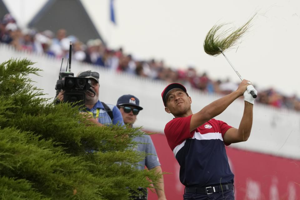 Team USA's Collin Morikawa hits on the 15th hole during a Ryder Cup singles match at the Whistling Straits Golf Course Sunday, Sept. 26, 2021, in Sheboygan, Wis. (AP Photo/Charlie Neibergall)