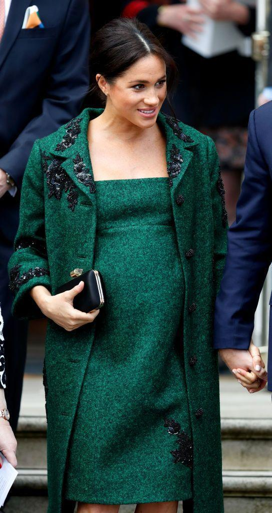<p>Meghan Markle's Erdem dress and coat not only match the color of Merida's emerald green gown, but the embellished embroidery makes it resemble the medieval style even more. </p>
