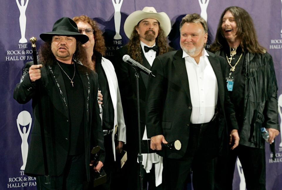 Lynyrd Skynyrd, from left, Gary Rossington, Billy Powell, Artimus Pyle, Ed King and Bob Burns, backstage after being inducted into the Rock and Roll Hall of Fame in 2006.