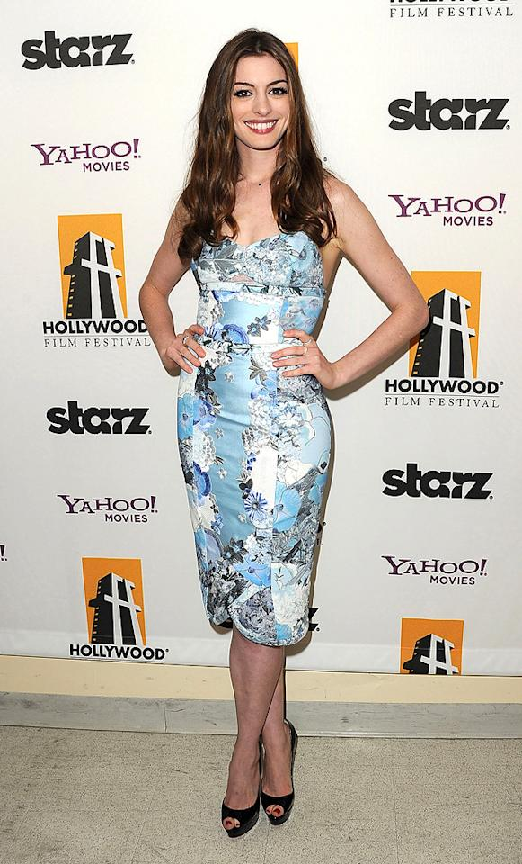 """<a href=""""http://movies.yahoo.com/movie/contributor/1804705919"""">Anne Hathaway</a> at the 15th Annual Hollywood Film Awards in Beverly Hills, California on October 24, 2011."""